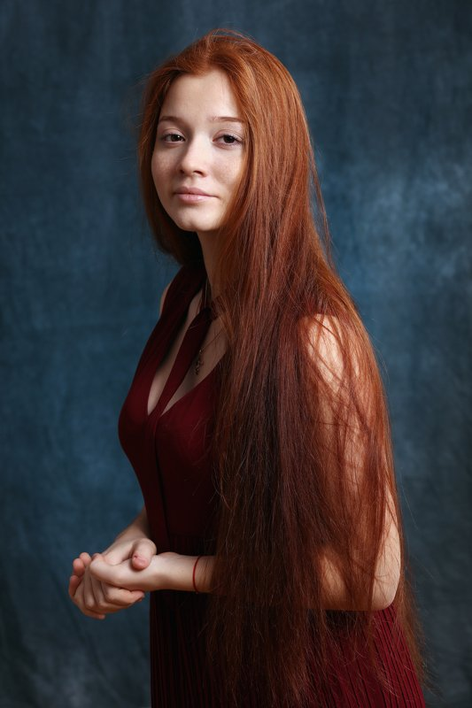 портрет, девушка, рыжая, волосы,girl,red,portrait Аняphoto preview