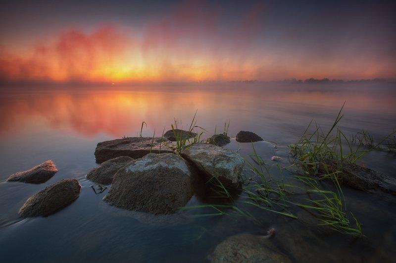 landscape water fog sunrise sky reflection clouds poland sun wisła Wisłaphoto preview