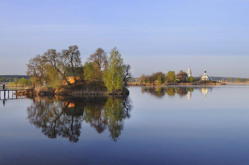 утро, рассвет, монастырь, озеро, река ***photo preview