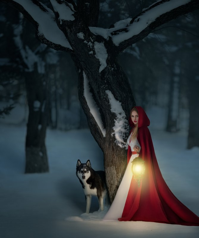 #husky, #dog, #girl, #night, #redhood, #winter, #forest, #mystery, #lighter, #lamp #краснаяшапочка #сказка #fairytale Red Riding Hoodphoto preview