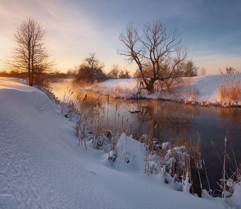 зима, утро, снег, мороз, пейзаж, речка, рассвет, морозное утро, winter, landscape, small, river, cold, colors, dawn, sunrise, frozen, snow, frost, trees ***photo preview