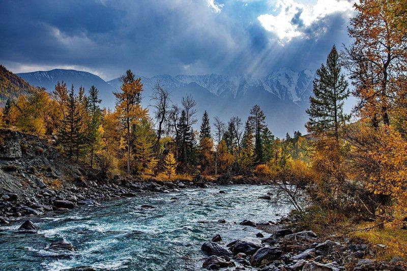 алтай. осень. горы. На реке Аргутphoto preview