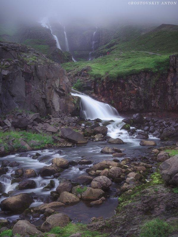 waterfall, iceland, fog, туман, водопад, фототур, Исландия, triplaunch, pentax645z Waterfall in Icelandphoto preview
