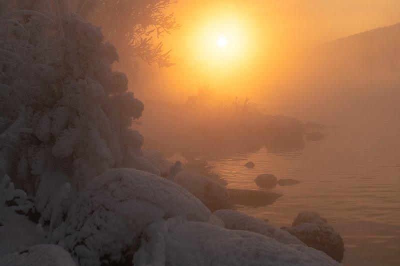 красноярск, мороз, енисей, закат. Зимний закат.photo preview