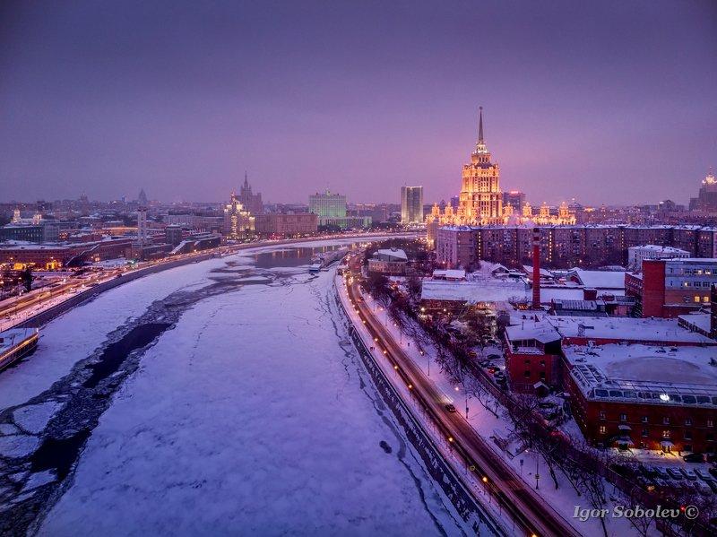 гостиница украина, москва, зима, вечер, Вечернееphoto preview