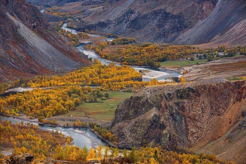 алтай. осень. горы. Кату Ярык.  Долина реки Чулышманphoto preview