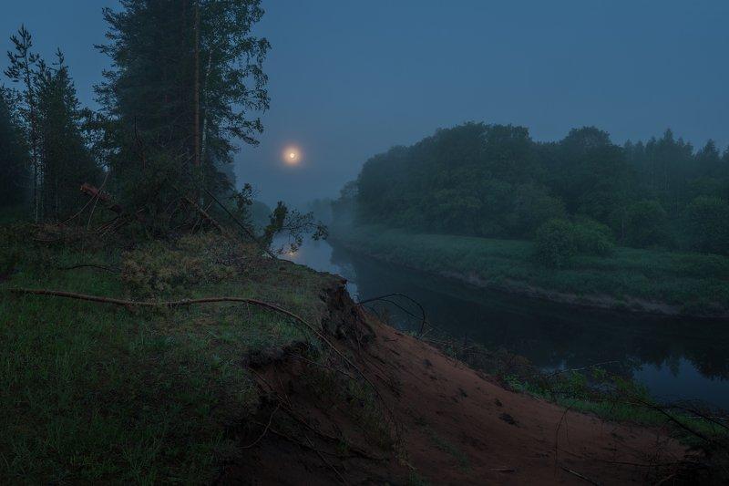 новгородская область, ночь, луна, туман В сизой дымке туманаphoto preview