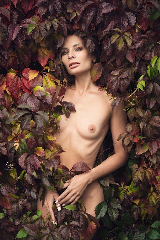 ню, осень, виноград, девушка, природа, москва, фотограф, ню фотограф, ню фотосессия ***photo preview