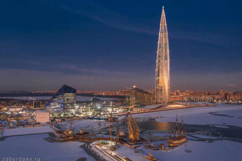 россия, петербург, лахта центр, зима, вечер, дрон ***photo preview