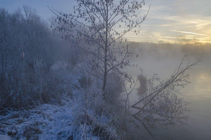 утро, рассвет, зима, озеро горячка, косая гора Горячка. Зимний сезонphoto preview