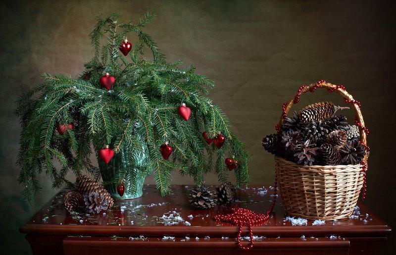 фотонатюрморт, миламиронова, шишки, хвоя, елка, игрушки, новыйгод Корзина шишек...photo preview