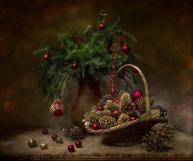 натюрморт, новый год, настроение, ел, шишка, шишки, шары Новогоднее настроение... фото превью