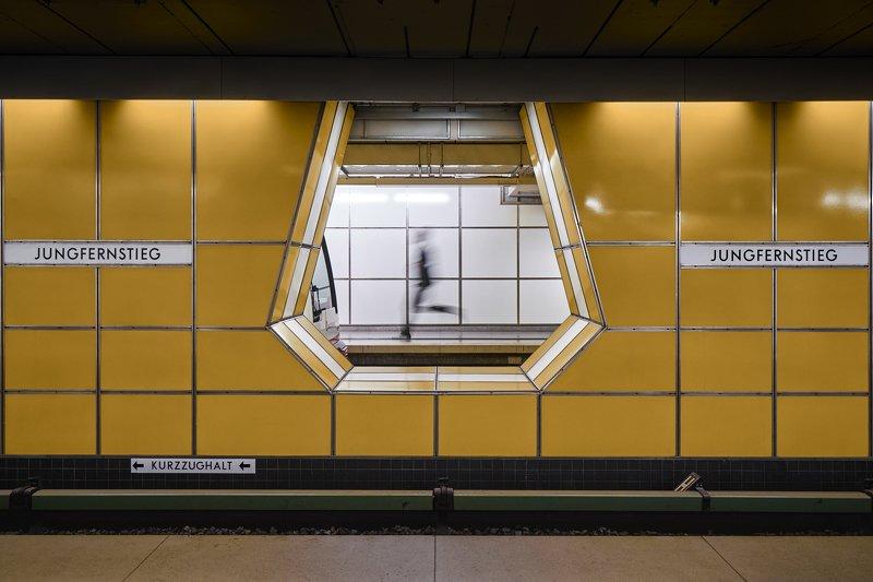 hamburg, germany, ubahn, metro, underground, street, person ghost runnerphoto preview