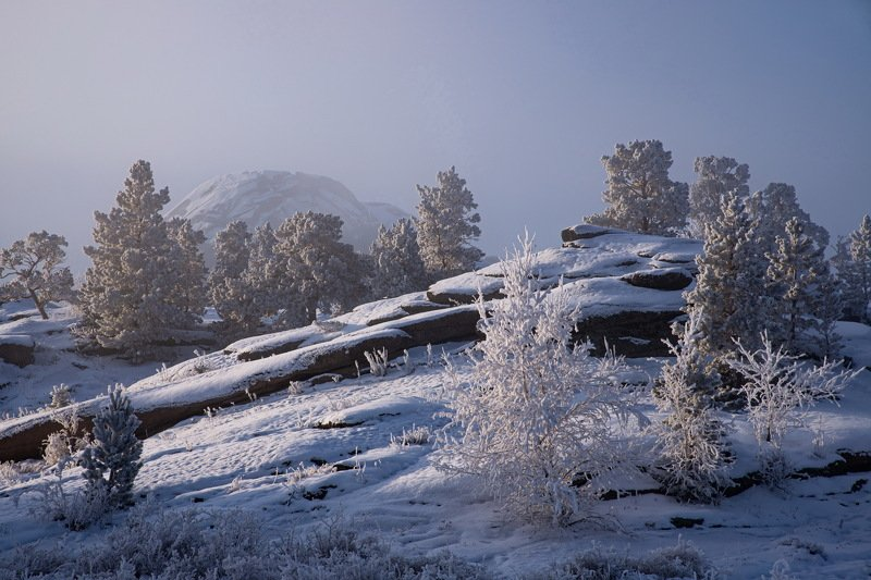 горы зима Утро морозного дняphoto preview