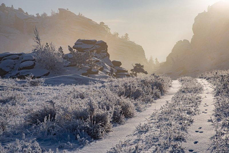 горы зима Зимнее утро в горах Баянаулаphoto preview