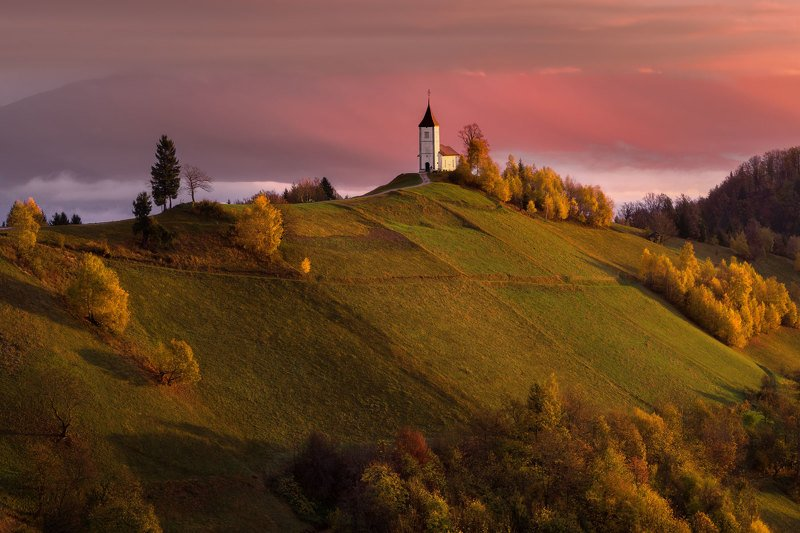 словения, slovenia, туманы словении, church, храмы словении, slovenia landscape, slovenia landscape photography, sonya99 Colours of dawnphoto preview