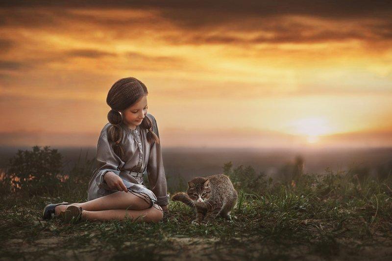 кот, играть, девочка, портрет, ребенок, детство, кошка, закат, природа, вечер Девочка с котом.photo preview