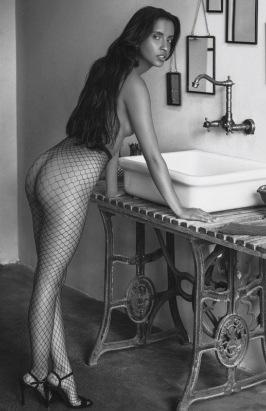 model, fine art, sexy, sensual, black and white, woman, female, body, erotica, glamour, curves, portrait, beautiful, fashion, bathroom, nude, naked, V.photo preview