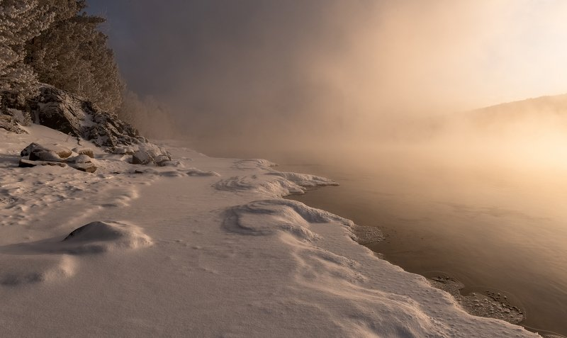 красноярск, мороз, енисей, Морозный берег реки.photo preview