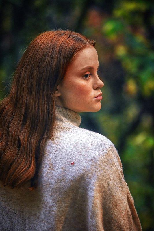 осень, рыжая, модель, листья, сезон, шорох, покой Этюд в рыжих тонахphoto preview