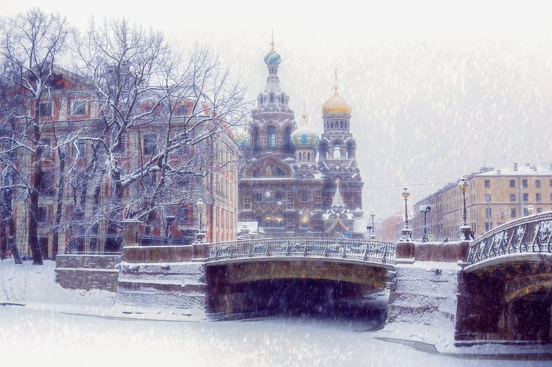 город,архитектура,собор,храм,мост,зима,день,снегопад С наступающим!photo preview