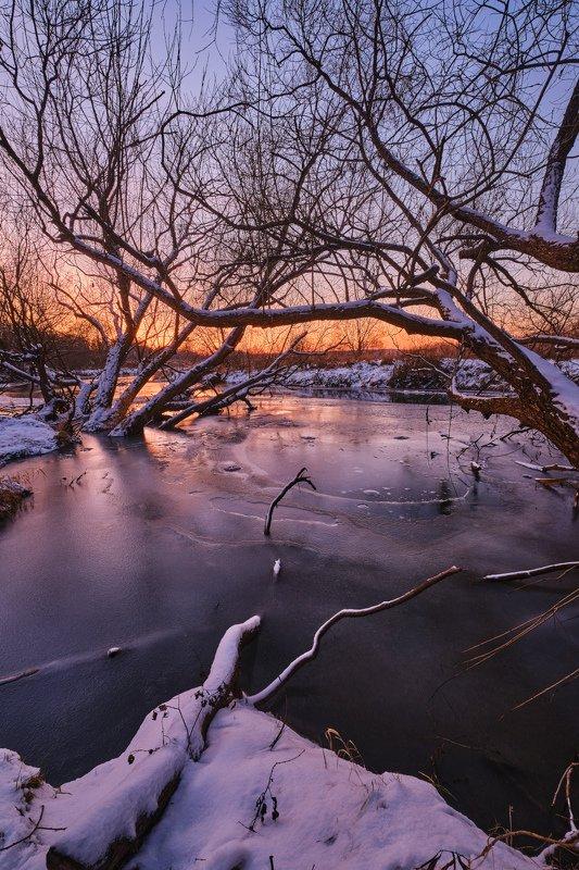 закат,зима,река,лёд,пейзаж,деревья,природа,подмосковье,fujifilm Декабрьский морозный закат на Вореphoto preview