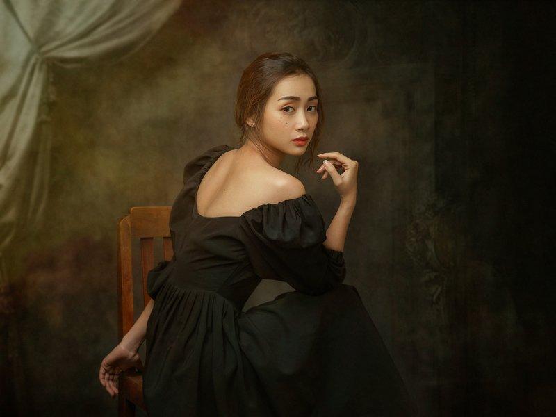 portrait, woman, female, beauty, old, face, dress, black, vietnamese, asian, girl, staged, fine art * * *photo preview