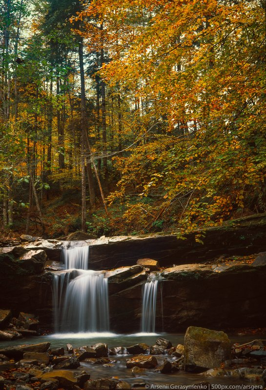 waterfall, stream, water, autumn, carpathians, carpathian mountains, countryside, mood, tranquil, mountains, foliage, wonderland, land, field, scenic,fall, background, tree, outdoor, forest, color, colorful, alpine, hill, scenery, yellow, country, vivid, Waterfall in the Carpathian mountains, Ukraine, Fuji Velvia Filmphoto preview