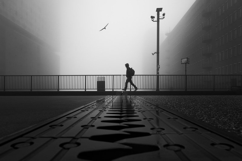 bridge, hamburg, road, people, fog, mist, lantern, street, urban streets of hamburgphoto preview