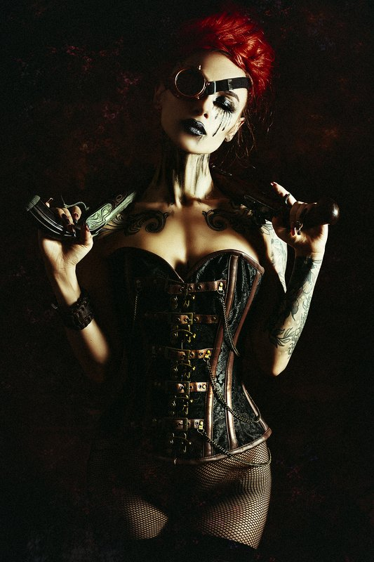woman, portrait, conceptual, studio, steampunk Even strong women need to cry sometimes...photo preview