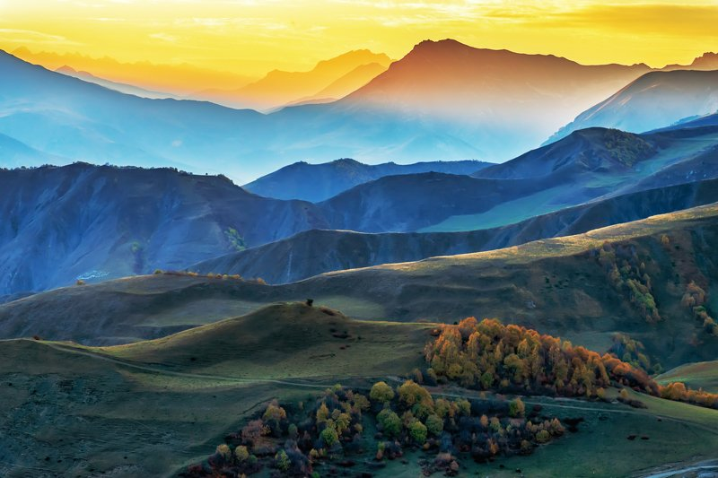 Ингушетия, горы, закат, осень Горы Ингушетииphoto preview