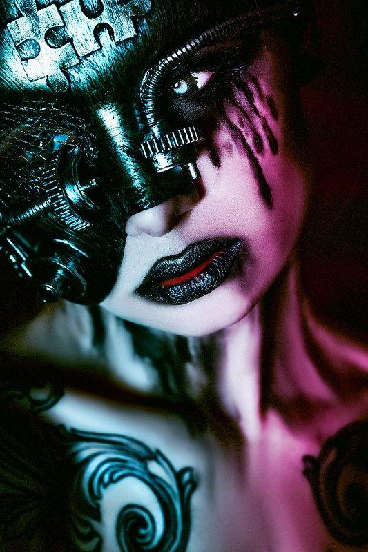 woman, portrait, studio, conceptual, art, darkbeauty, cyberpunk The world is falling subject to the Machine...photo preview