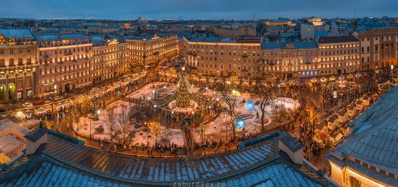 россия, петербург, зима, новый год, вечер Манежная площадьphoto preview