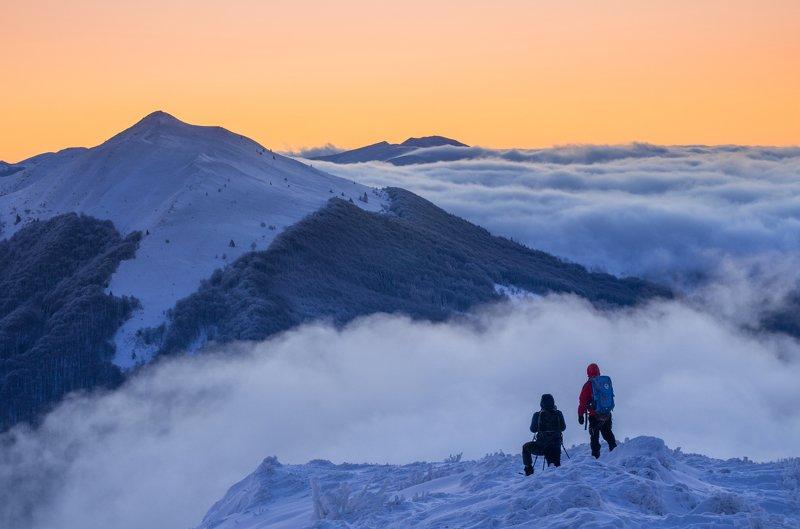 Bieszczady, mountains, winter, snow, fog,  Połonina Wetlińskaphoto preview