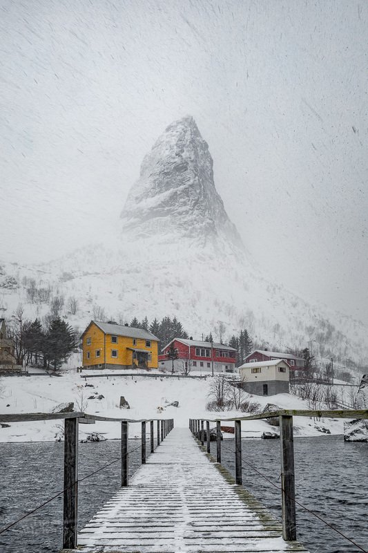 lofoten,reine,snow,winter,norway,norwegian,snowfall Snow storm on Lofotenphoto preview