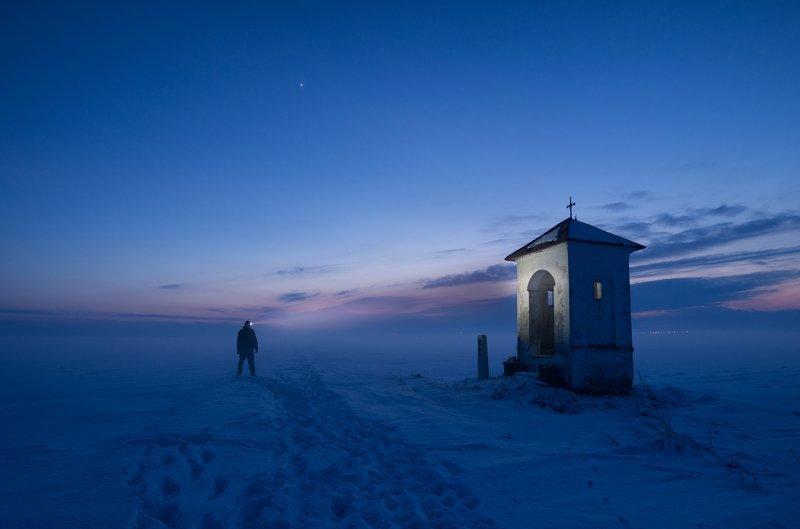 chapel, winter, men, night, ***photo preview
