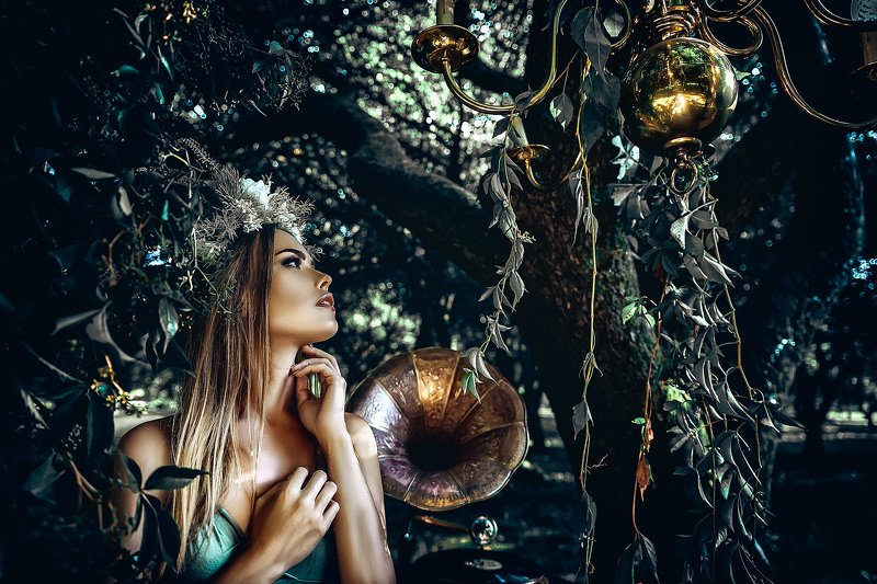 woman, portrait, art, beauty, outdoors, conceptual The Forest Songphoto preview