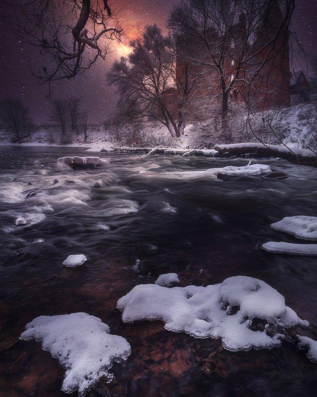 ночь пейзаж река млечный путь Ночь перед Рождеством.photo preview