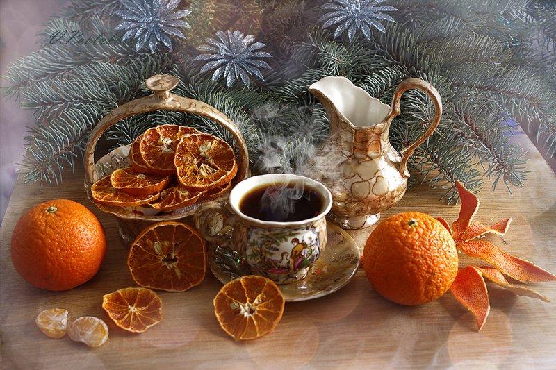 натюрморт, рождество, кофе ,вера павлухина , С чашечкой рождественского кофе .photo preview