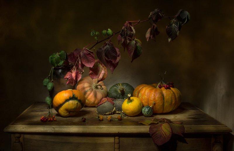 натюрморт, тыква, тыквы, ежевика, подсолнухи, шиповник Тыквенное изобилие... фото превью