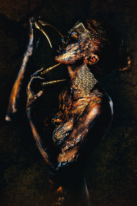 woman, portrait, conceptual, studio, bodyart She is a Fire full of rage and chaosphoto preview