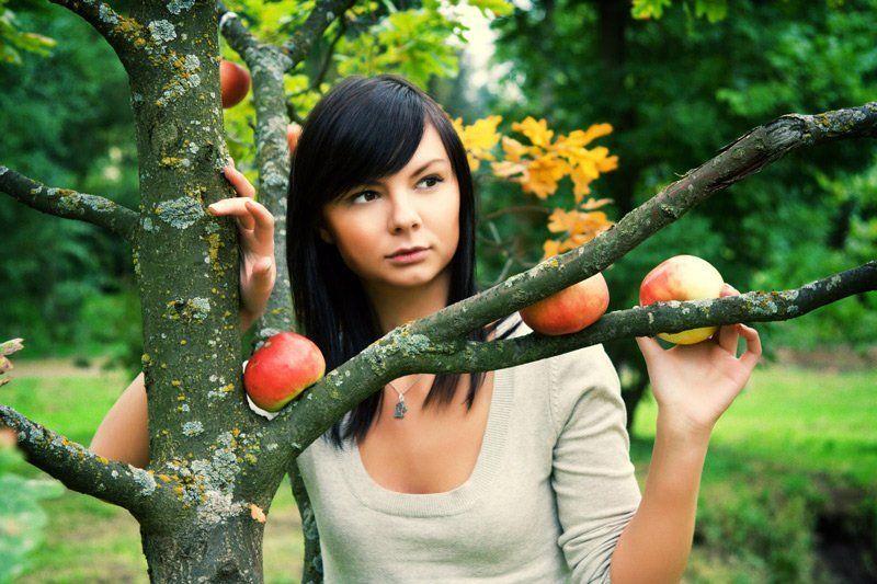 девушка, с, яблоками ***photo preview
