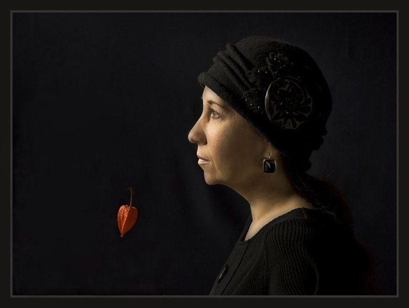 женский, портрет Профиль и физалис.photo preview