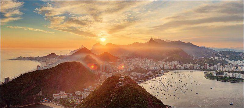 Hdr, Бразилия, Город, Закат, Латинская америка, Панорама, Петешествия, Рио де жанейро закатная вуаль для Рио.photo preview