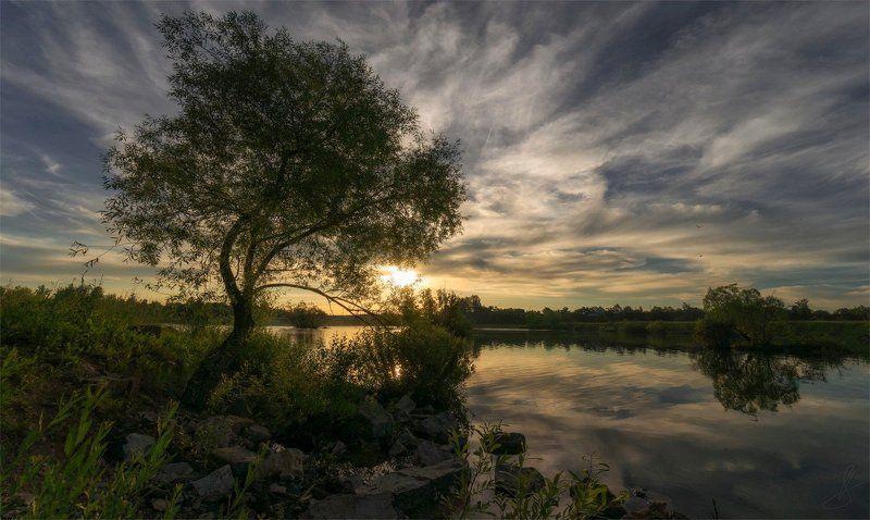 Вода, Закат, Небо облака, Пейзаж природа, Солнце ***photo preview
