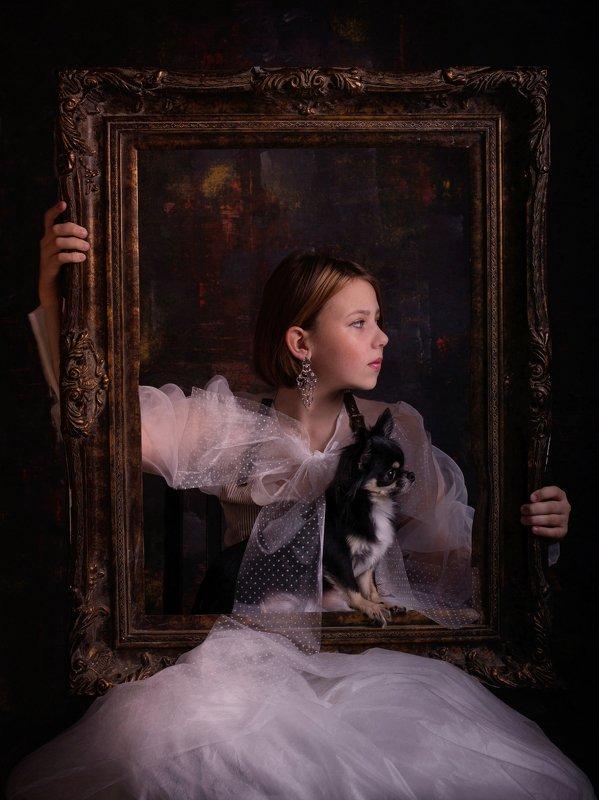 постановка, деткий портет собака Портрет с рамой  и собакойphoto preview