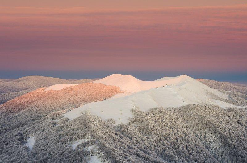 Bieszczady, Połonina, Wetlińska, mountains, Poland, snow, winter, frost, forest Połonina Wetlińskaphoto preview