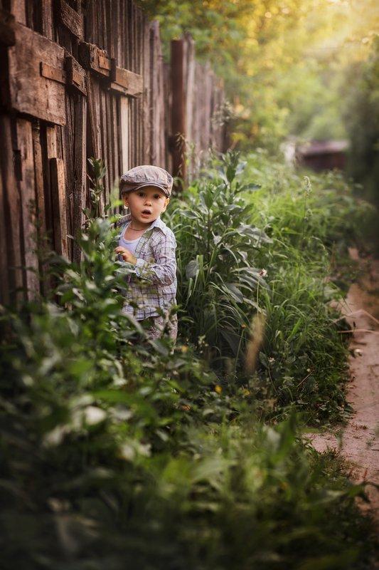 мальчик, ребенок, удивление, прогулка, лето,кепка, свет, лучи, солнце Матвей.photo preview