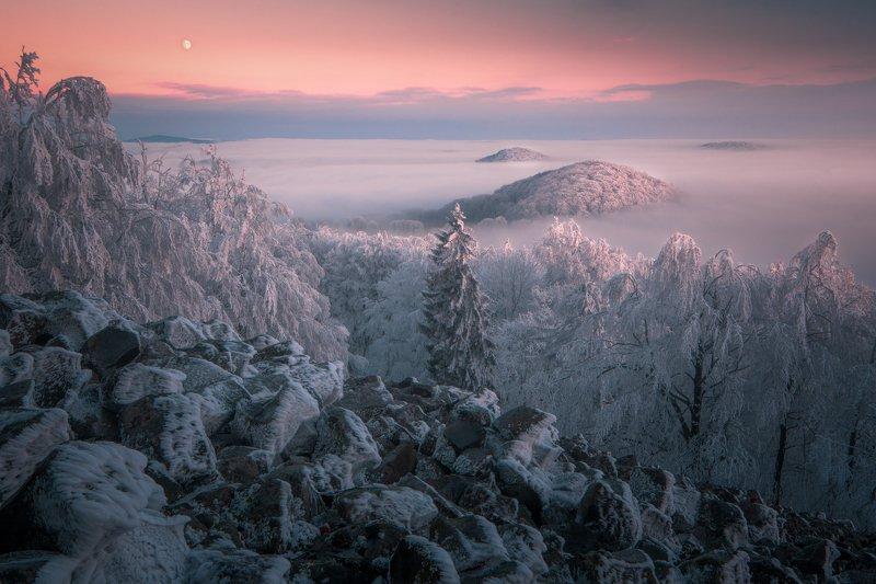 landscape, sunset, moon, winter, snow, frost, sky, ice, light, czech republic Winter Landphoto preview