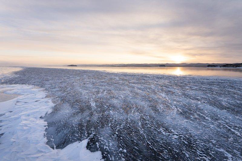 Байкал, лед, рассвет Лед Байкалаphoto preview